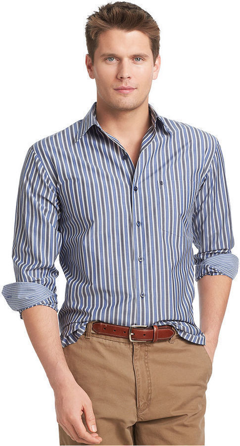 Izod Shirt Long Sleeve Assorted Striped Performance Shirt