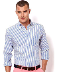 Nautica Shirt Long Sleeved Wrinkle Resistant Striped Shirt
