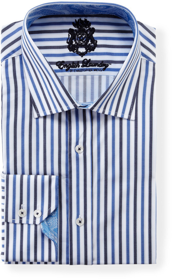 English Laundry Vertical Two Tone Stripe Long Sleeve Dress Shirt Blue