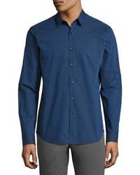 Theory Zack Tonal Pinstripe Sport Shirt Bright Blue