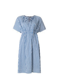 Blue Vertical Striped Midi Dress