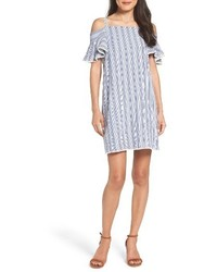 Blue Vertical Striped Off Shoulder Dress