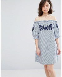 Parisian Off Shoulder Stripe Dress With Embroidery