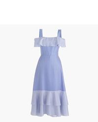 J.Crew Petite Striped Cold Shoulder Silk Dress