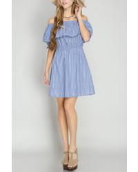 She Sky Stripe Ruffle Dress