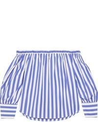 Blue Vertical Striped Off Shoulder Top