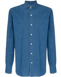 Blue Vertical Striped Shirt Jacket