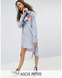 Asos Petite Petite Stripe Shirt Dress With Oversized Cuff Badges