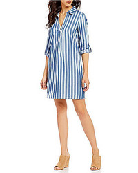 Skies Are Blue Point Collar V Neck Roll Tab Sleeve Striped Chambray Shirt Dress