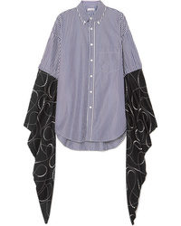 Balenciaga Oversized Striped Cotton Poplin And Printed Silk Tte Shirt