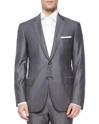 Brioni Super 150s Herringbone Striped Suit Gray