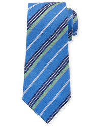 Diagonal stripe linen silk tie blue medium 3678515