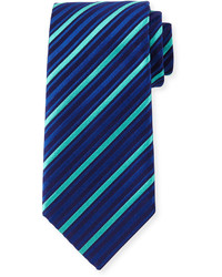 Charvet Striped Silk Tie Blueaqua
