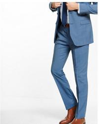 Express Slim Photographer Navy Mini Texture Stripe Wool Suit Pant