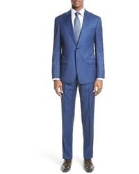 Armani Collezioni G Line Trim Fit Stripe Wool Suit