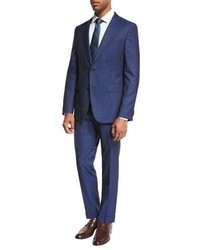 BOSS Track Stripe Wool Two Piece Suit Bright Blue