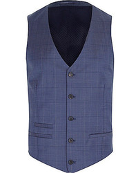 River Island Blue Subtle Check Wool Blend Vest