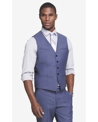 Express Blue Wool Twill Suit Vest