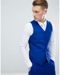 ASOS DESIGN Skinny Suit Waistcoat In Royal Blue