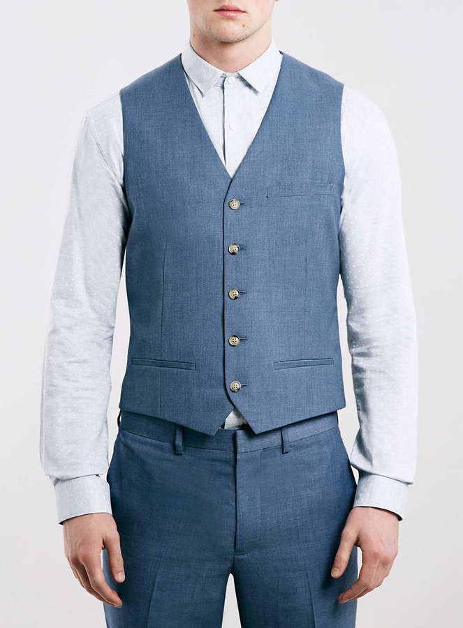 Light Blue Suit Vest Suit La