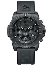 Luminox 44mm Navy Seal 3080 Series Colormark Chronograph Watch Black