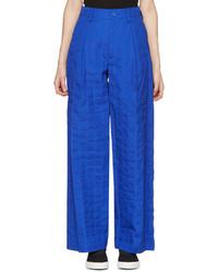 Blue crumpled grid trousers medium 3657685