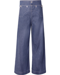 Marni Button Embellished High Rise Wide Leg Jeans