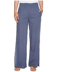 Heather Janis Twill Voile Split Side Wide Leg Pants Clothing