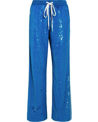 Sequined cotton track pants bright blue medium 5259034