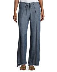 Wawona tied overlay chambray pants blue medium 3679699