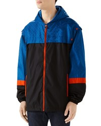 Gucci Gg Jacquard Nylon Hooded Jacket With Detachable Sleeves