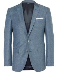 Hugo Boss Blue Hutsons Slim Fit Slub Virgin Wool And Silk Blend Blazer
