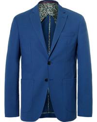 Etro Blue Wool And Cotton Blend Blazer
