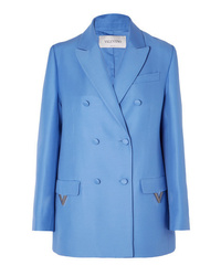 Valentino Oversized Double Breasted Wool And Silk Blend Blazer