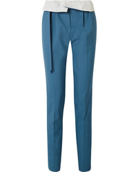 Gabriela Hearst Beatrice Fold Over Wool Straight Leg Pants