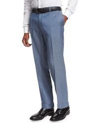 Flat front straight leg wool trousers medium blue medium 1149304