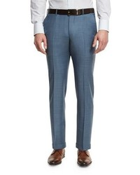 Sharkskin wool flat front trousers light blue medium 1161090