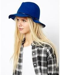Esprit Felt Fedora Hat Viola Blue
