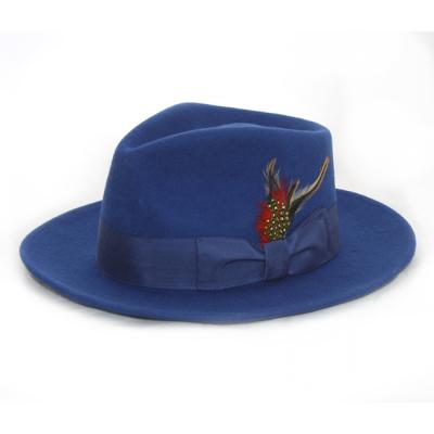 325b4b924d845 ... Ferrecci Royal Blue Wool Felt Fedora Hat