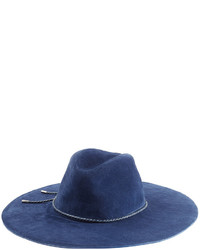 Emilio Pucci Suede Fedora With Leather Trim