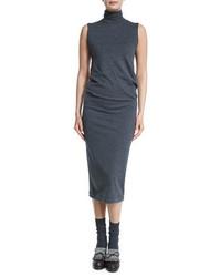 Blue Wool Midi Dress