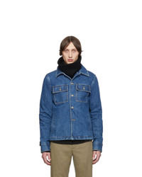 Blue Wool Shirt Jacket