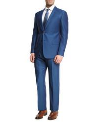 Armani Collezioni Birdseye Wool Two Piece Suit Ocean Blue