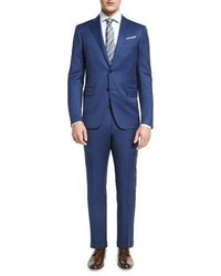 Ermenegildo Zegna Solid Wool Two Piece Suit Blue