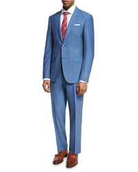 Solid wool two piece suit light blue medium 1161068