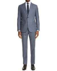 Emporio Armani Trim Fit Microbox Print Wool Suit