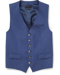 Alexander McQueen Blue Wool And Mohair Blend Waistcoat