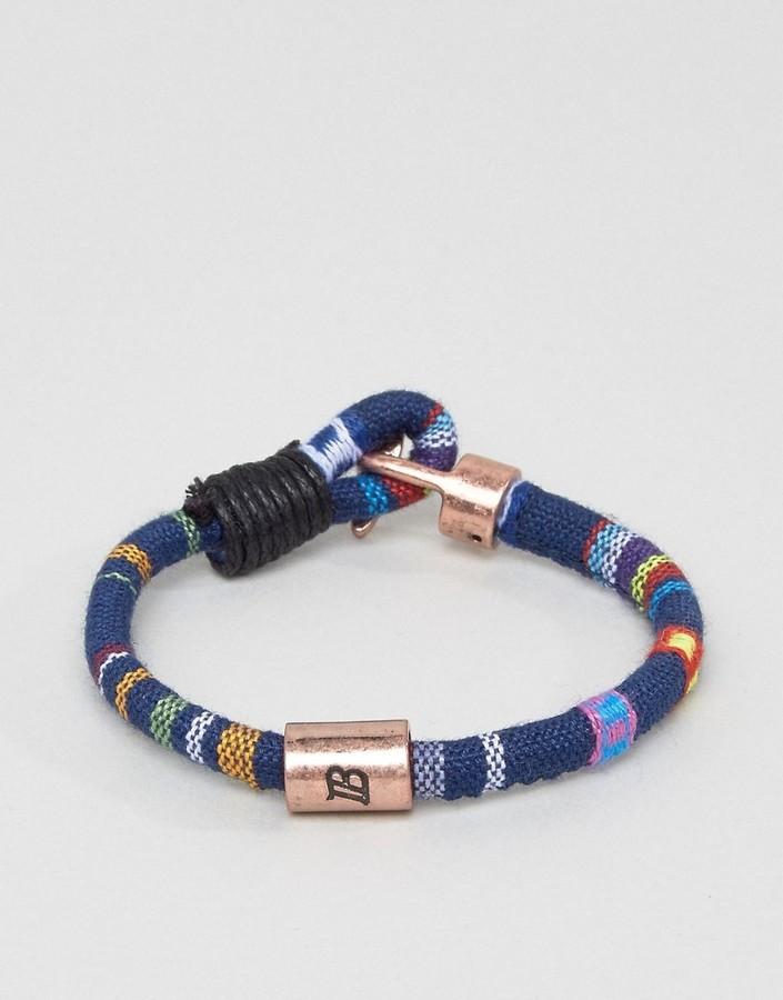 Icon Brand Geo Tribal Woven Bracelet In Blue
