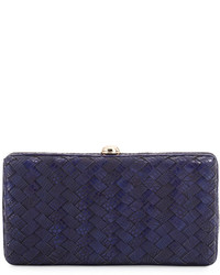 Neiman Marcus Woven Reptile Faux Leather Clutch Bag Cobalt