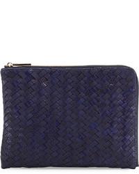 Neiman Marcus Woven Reptile Faux Leather Pouch Cobalt